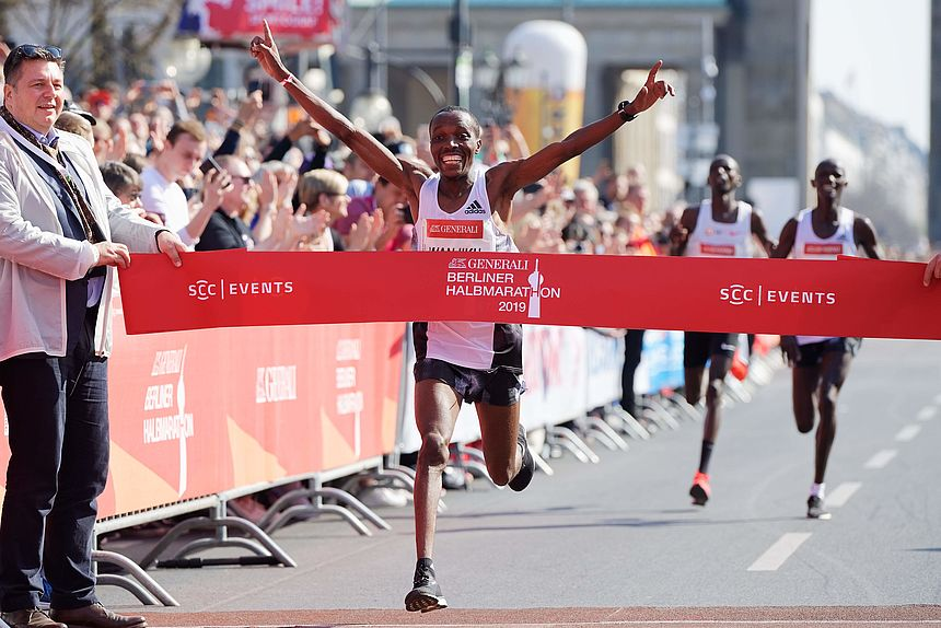 William Wanjiku, the winner of the 2019 GENERALI BERLIN HALF MARATHON